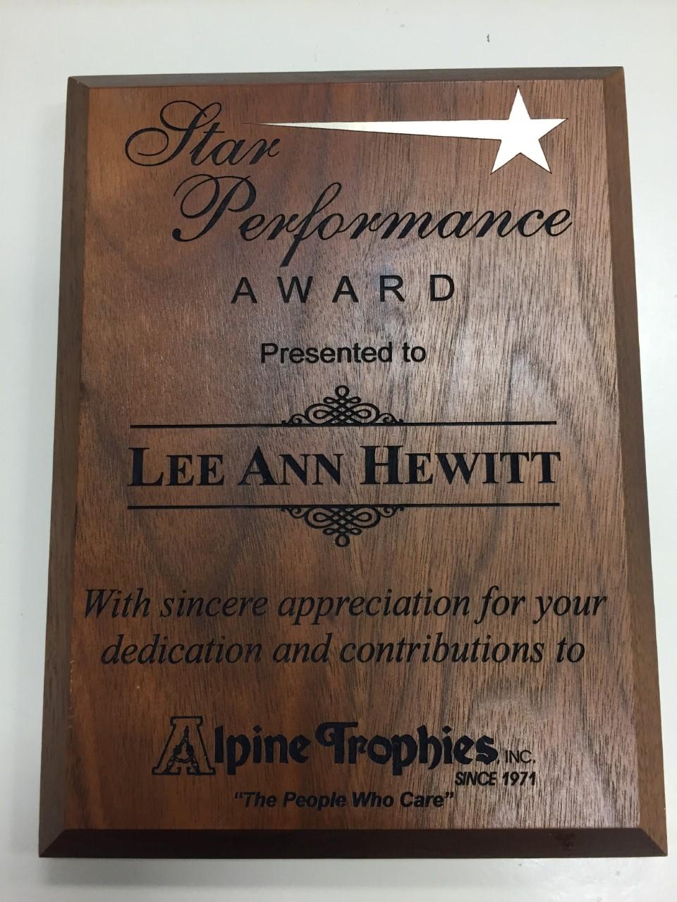 Alpine Trophies Solid Walnut Plaque Awards Trophies